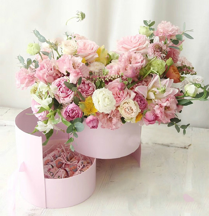 Double Layer Round Flower Paper Boxes With Ribbon Rose Bouquet Gift Packaging Cardboard Box Valentine's Day Wedding Decoration