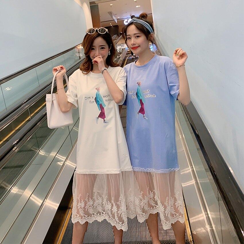 2019 Neue Koreanische Version Von Mutterschaft Kleid Baumwolle Nähte Mesh Hot Mom Kleid Cartoon Print Schwangerschaft Rock Weniger Teuer