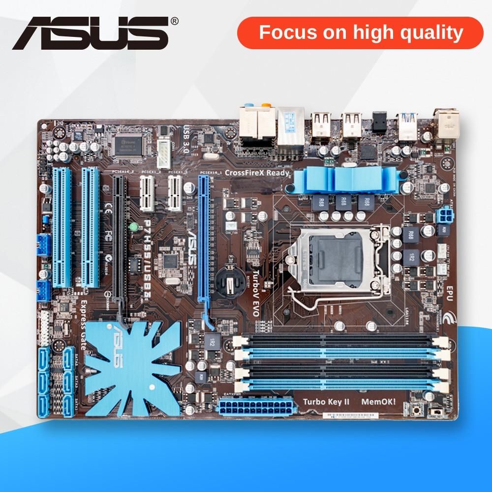 цены Asus P7H55/USB3 Desktop Motherboard P7H55 USB3 H55 Socket LGA 1156 i3 i5 i7 DDR3 16G SATA3 USB3.0 ATX