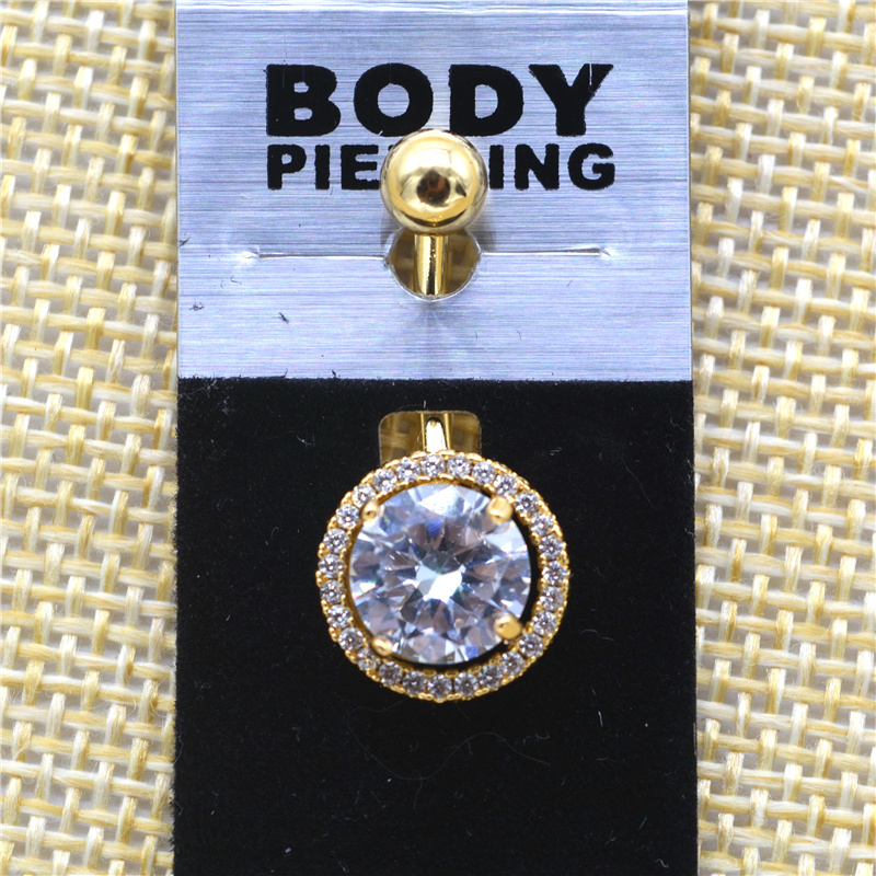 G23titan Big Crystal Umbigo Anéis para As Mulheres Piercing 14G Aço - Bijuterias - Foto 6