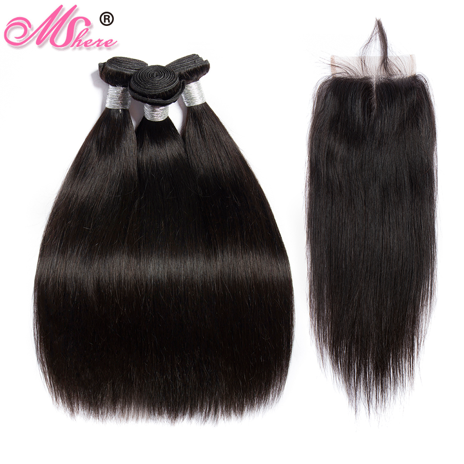 Mshere Straight Hair Bundles With Closure Brazilian 3 Bundles With Lace Closure Remy Human Hair Bundles