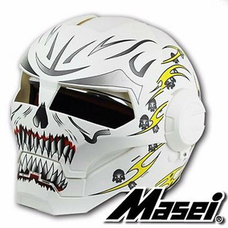MASEI 610 personnalité crâne Jaune blanc IRONMAN Iron Man casque de moto moitié casque open face casque ABS casque motocross