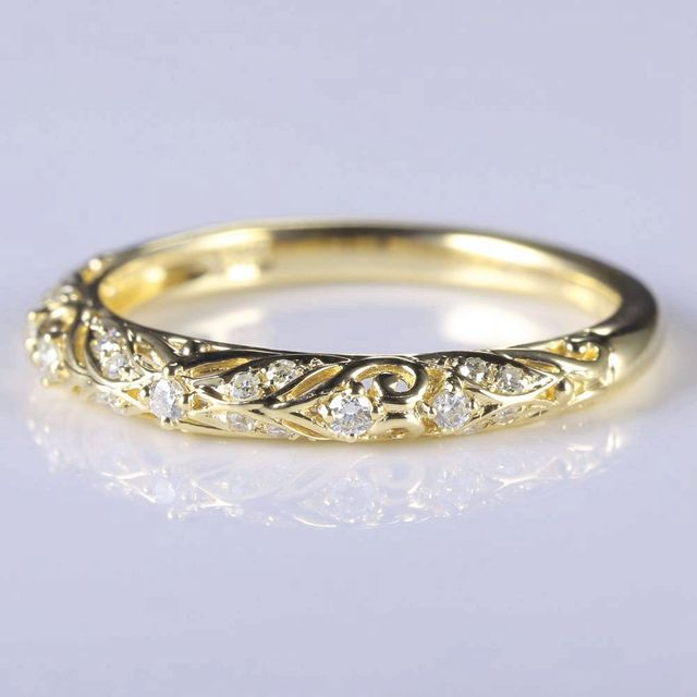 Art Nouveau Solid 14k Yellow Gold Natural Diamonds Anniversary Ring Wedding Band Engagement Jewelry