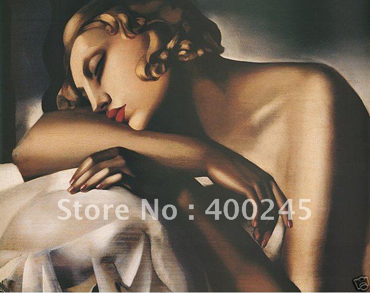 Portrait painting modern art DORMEUSE <font><b>TAMARA</b></font> <font><b>DE</b></font> <font><b>LEMPICKA</b></font> REST CANVAS Painting home decor high quality Hand painted