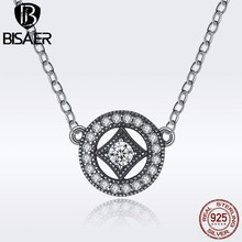 BISAER 100% 925 Sterling Silver Vintage Dazzling Allure AAA Zircon Geometric Women Pendant Necklaces & Pendants Jewelry EDN014