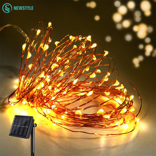 10m 8 Modes Solar Ed Led String Lights Copper Wire Outdoor Fairy Christmas Garden
