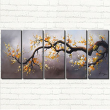 handpainted yellow Floral Cherry Blossom paintings Large wall art modern  Landscape painting for wall decor