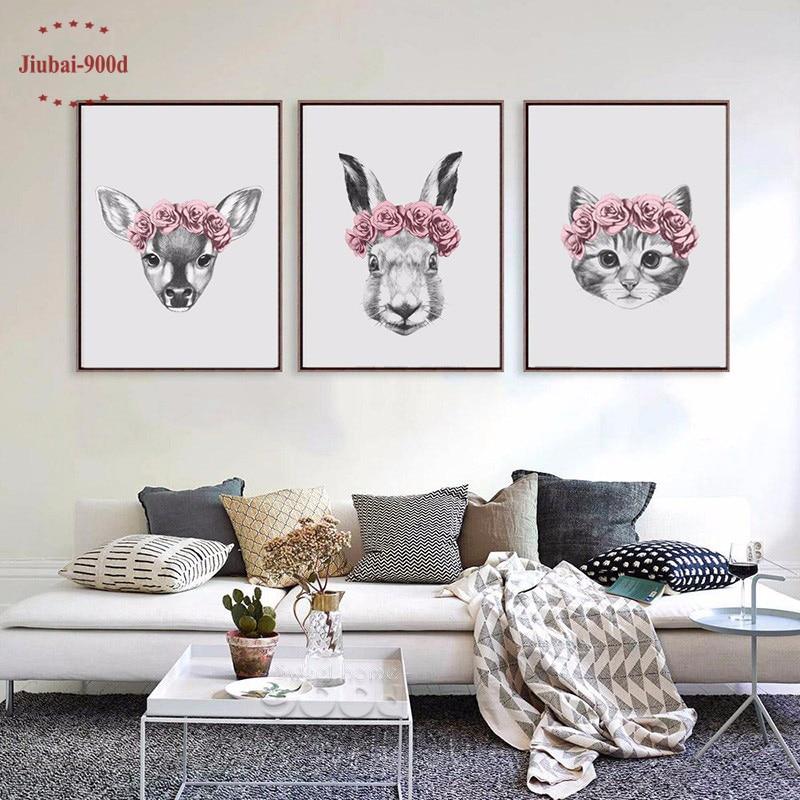 Dessin à la main animaux Art impression peinture affiche, lapin et cerf et chat mur photos pour la décoration de la maison décoration murale FA403