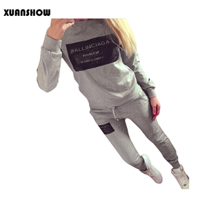 Image 1 - XUANSHOW Women Outfit Sportswear Spring Autumn Winter Printed Letters Ladies Fleece Tracksuits Long sleeve Casual 2 Piece Set