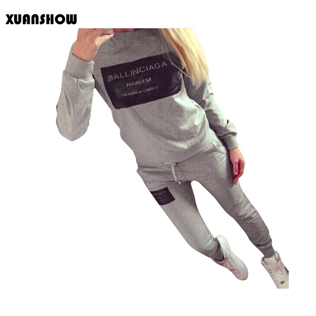 XUANSHOW Women Outfit Sportswear Spring Autumn Winter Printed Letters Ladies Fleece Tracksuits Long-sleeve Casual 2 Piece Set