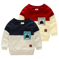 2016 Autumn Male Children S Child Clothing Child Casual Long Sleeve Top Baby Boy Color Block