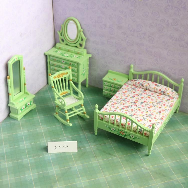 Haute qualité 1:12 maison de poupée mini bricolage en bois massif meubles de maison jouet ensemble maison de poupée chambre salon chaise 5 pièces