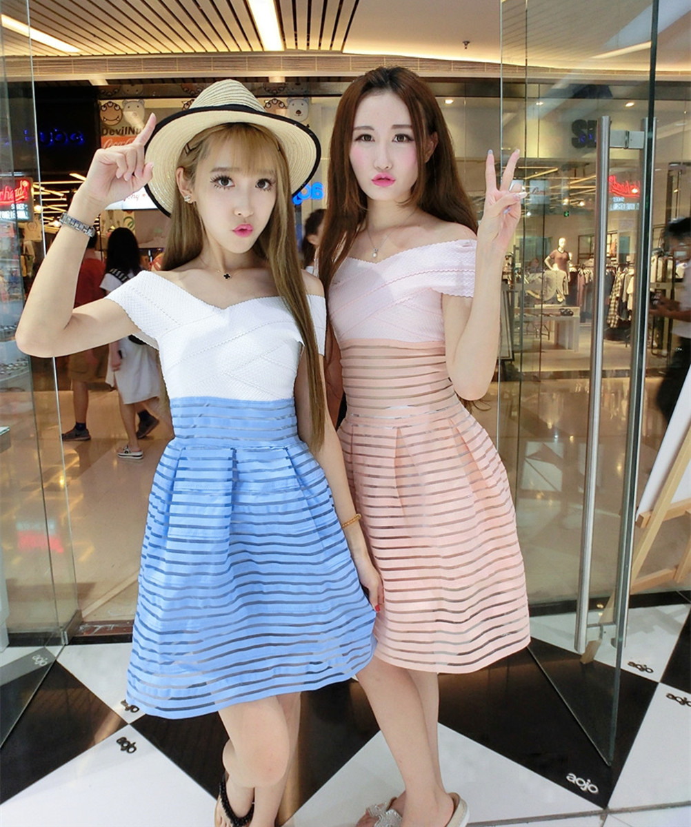 2016 Korean collar dress fashion temperament strapless dress can <font><b>be</b></font> a <font><b>sweet</b></font> bestie