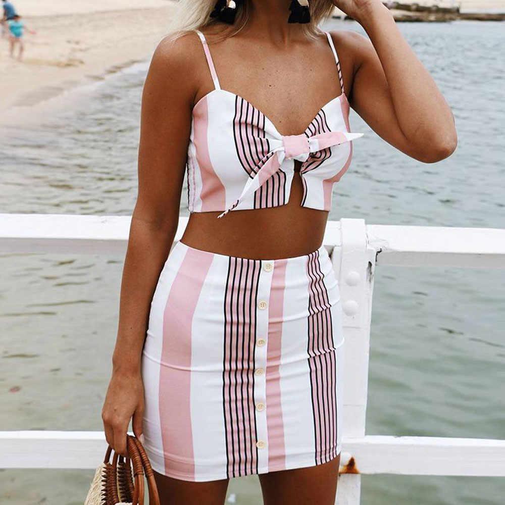 ビーチ弓 2 ピース衣装のための女性のエレガントなストライプトップスブラウススカート 2 個 Setensemble ファム conjuntos デ mujer # G7