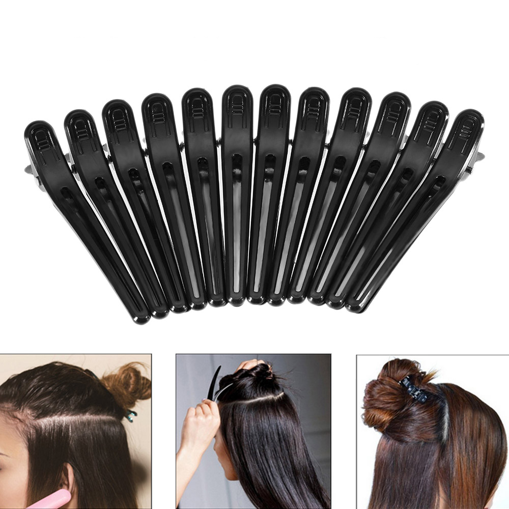 12pcs Black Hair Grip Clips Hairdressing Sectioning Cutting Hair Clamps Clip Professional Plastic Salon Styling Hair Clips