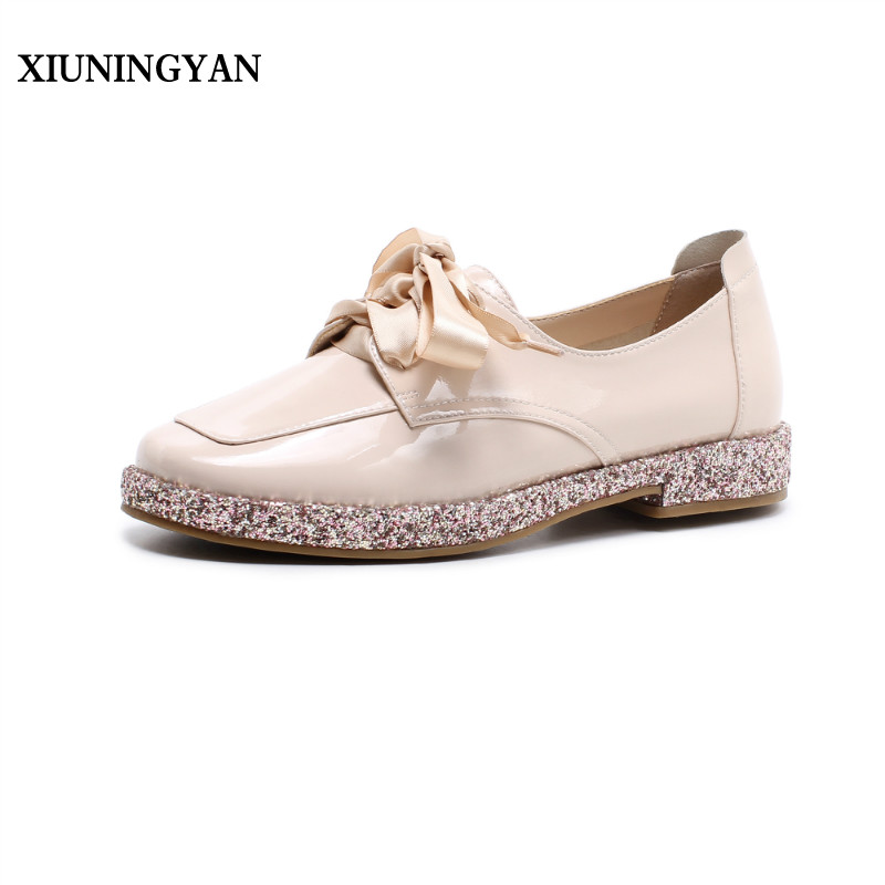 XIUNINGYAN 2018 New Women Casual Brogue Shoes Black Oxfrods For Women Round Toe Flats Retro Patent Leather Oxford Shoes Woman handmade women genuine full grain leather oxfords shoes woman big size 32 43 retro flats round toe brogue oxford shoes for women