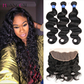 8a  peruvian virgin hair  Body Wave 4pcs Human Hair Weft With Closure lace Frontal Closure 13x4 With Bundles 5pcs/lot