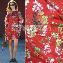 1Meter Thin Metallic Chiffon Digital Printed Flower Fabric Material Sew Dress Cloth Patchwork Diy Red 140CM