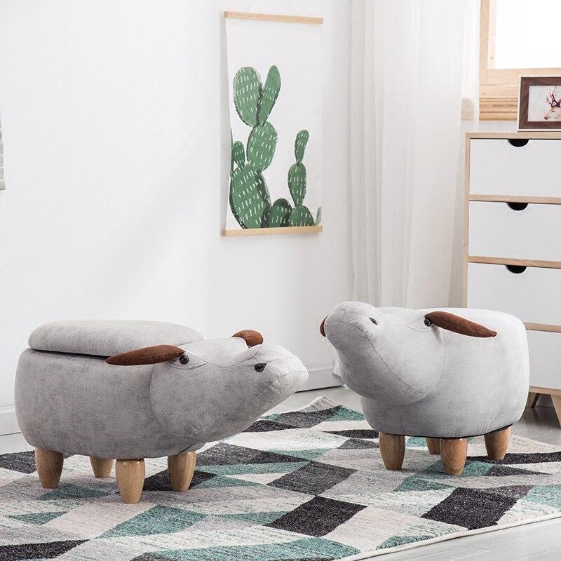 Buffalo shape sofa stool animal creative wear shoes stool storage solid wood decoration stool