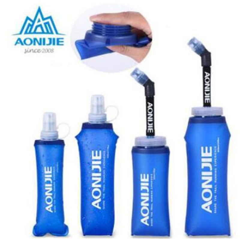 AONIJIE Running Sport Bicycle Soft Water For Bottle Folding TPU Soft Flask Water With Long Straw Bladders Bag 350/600mL