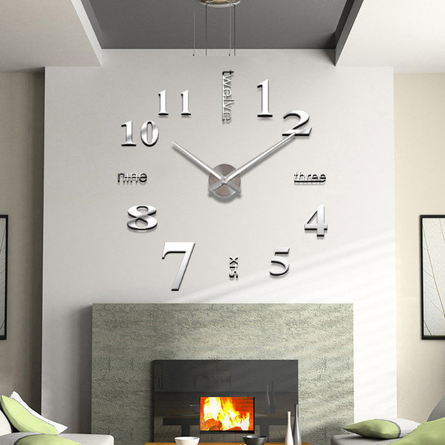 Acryl Spiegel 3D Klok Muurstickers Creatieve Woonkamer Klok ...