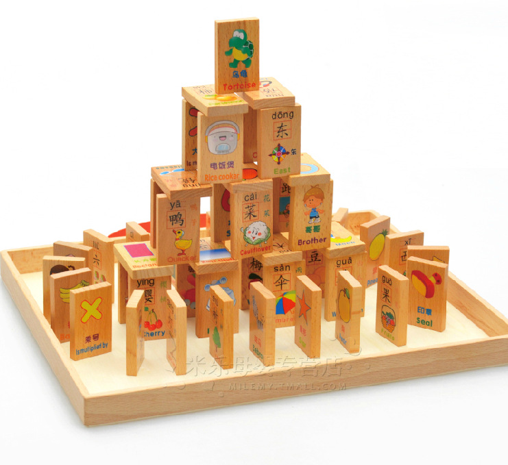 ФОТО Wooden Early Education Series Domino Toy Learn Chinese Characters Blocks Children's Intelligence Learning Blocks Toys W065