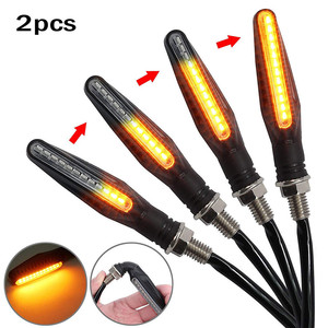 2Pcs Motorcycle Turn Signal Light Brake Lamp Flowing Water Lighting Amber Light LED Flicker Bendable Tail Indicator Flasher#YL5