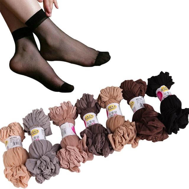 ab26274e582 20Pairs Lot Summer Sexy Ultrathin Crystal Silk Socks For Women High Elastic Black  Transparent Nylon