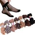 Verão sexy ultrafinos transparente cristal meias de seda para as mulheres de alta elástico preto de nylon meias curtas meias femininas 20 pares/lote