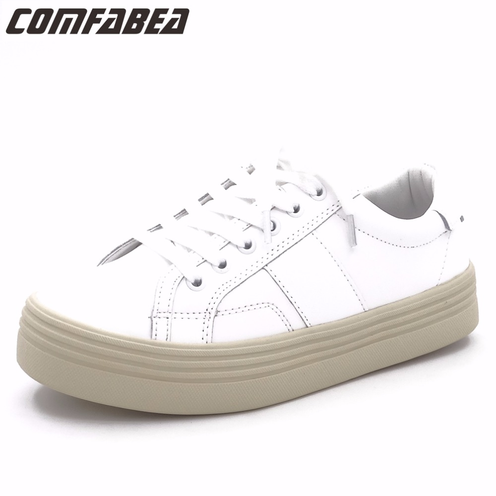 COMFABEA 2017 Autumn Women Casual White Shoes Creepers Flat Heel shoes Fashion ladies Shoes Women Comfort shoes flats for women new top quality silicone sex doll lifelike love doll sex product vagina pussy anal real doll sex toy big breast sex doll for men