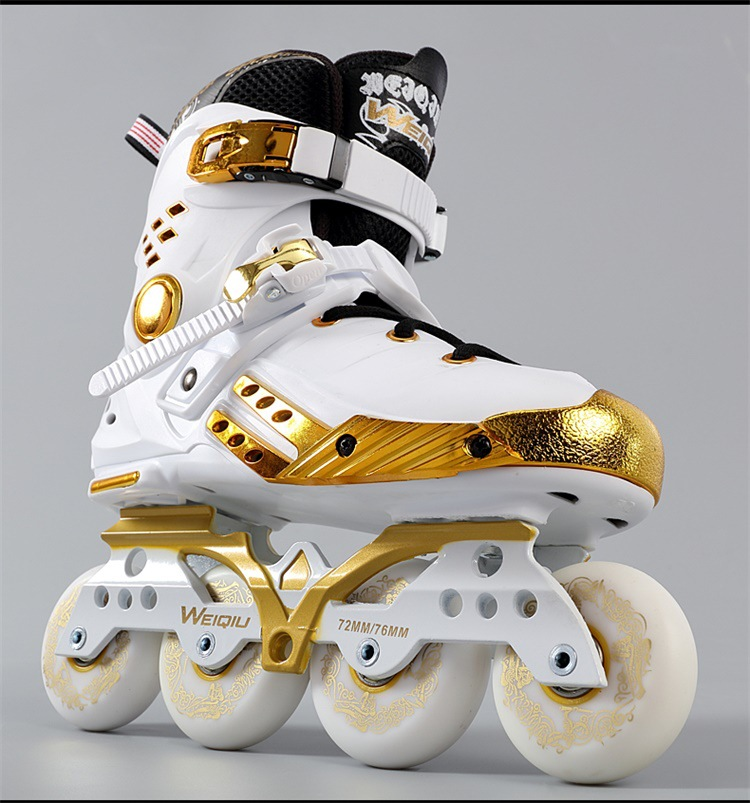 Platinum Black Gold Skates Adult Inline Men Women Skates Fancy Flat Shoes Roller Shoes Roller Skates