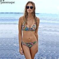Janesamque Cross Bandage Two Piece Bikini Suit Push Up Swimwear HalterWomen Swimsuit Low Waist Beachwear Printed