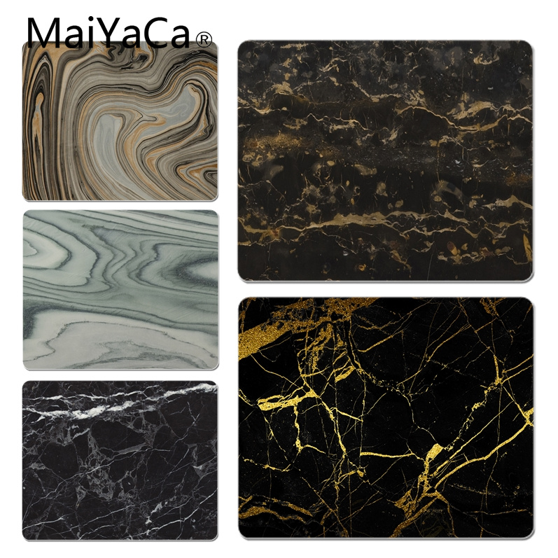 MaiYaCa Non Slip PC Gold Black Marble Customized laptop Gaming mouse pad Size for 180x220x2mm and 250x290x2mm Rubber Mousemats