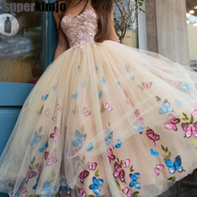 custom make prom dresses with sweetheart neckline champagne butterfly lace appliques ball gown evening tulle women dress