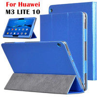 PU Leather Case For Huawei MediaPad M3 Lite 10 Silk Print Smart Case Cover For Media