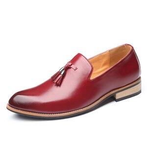 Image 3 - Мужские модельные туфли; Мужские свадебные туфли из лакированной кожи в британском стиле; Мужские кожаные оксфорды на плоской подошве; Официальная обувь