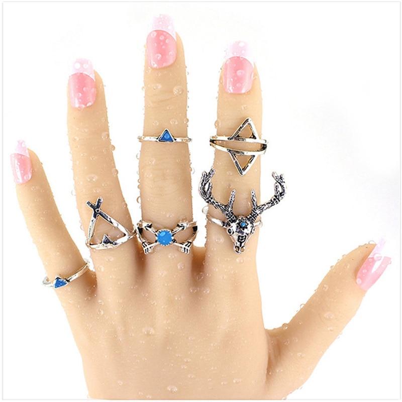 6pcs/lot Vintage Ethnic Bohemian BOHO Ring Howlite Deer Anillos De Animales Bague Punk Women Jewelry Wholesale ND1171