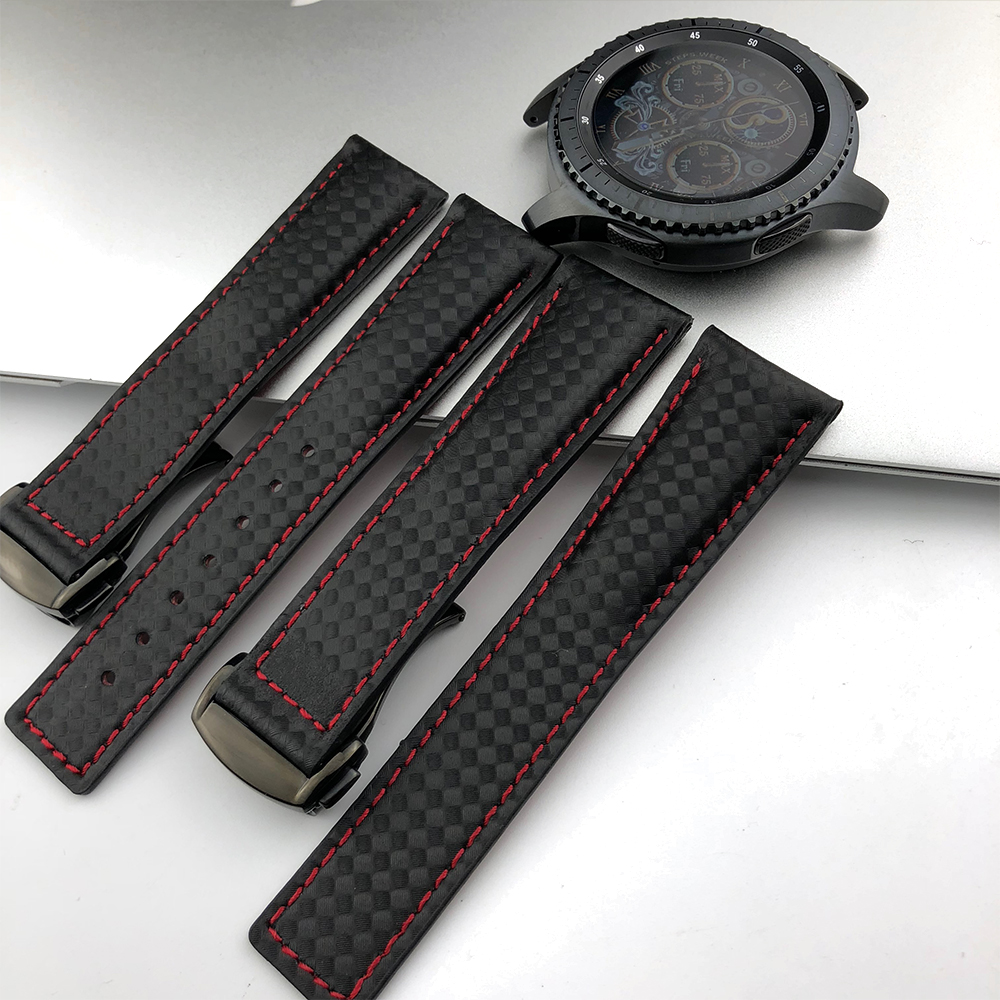 Image 2 - 22MM Sport Carbon Fiber Leather for Omega Samsung Gear S2 S3 Frontier Classic Waterproof Watch Band Strap Watchband Bracelet Man-in Watchbands from Watches