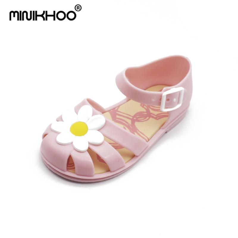 Mini Melissa Cute Flowers Girl Jelly Sandals 2018 Children Sandals Baby Melissa Princess Shoes Children Flowers Shoes Sandals