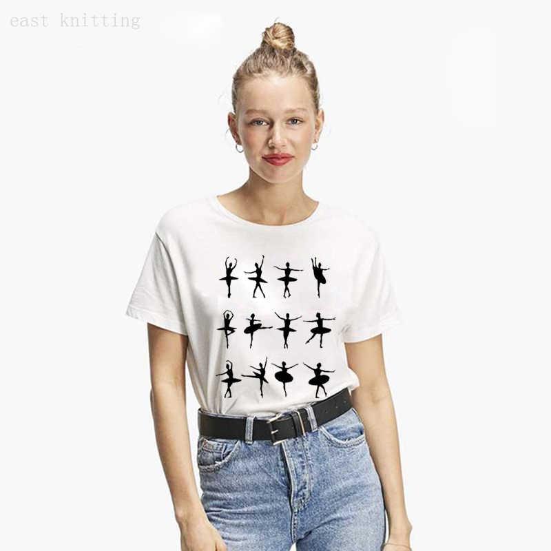 Donne Nero Mistero Ballerina di Danza T-Shirt Stile di Estate Casual Bianco T shirt