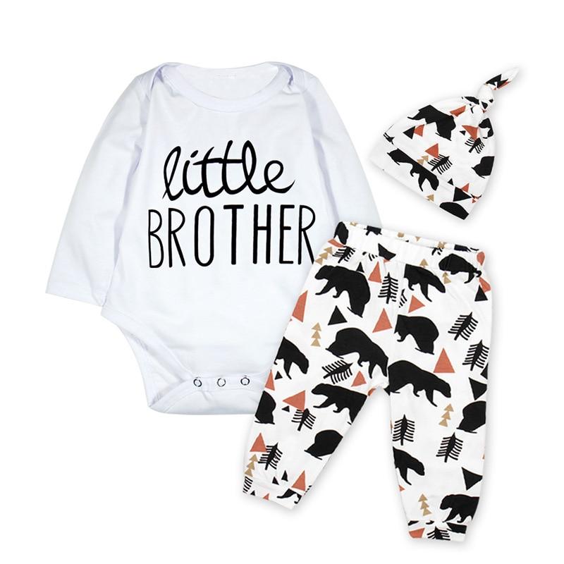 Baby Boy Clothes 2018 Girl Bodysuit Little Brother Letter Autumn Long Sleeve Onesie Bear Pant Hat 3PCS Sets Outfit Playsuit