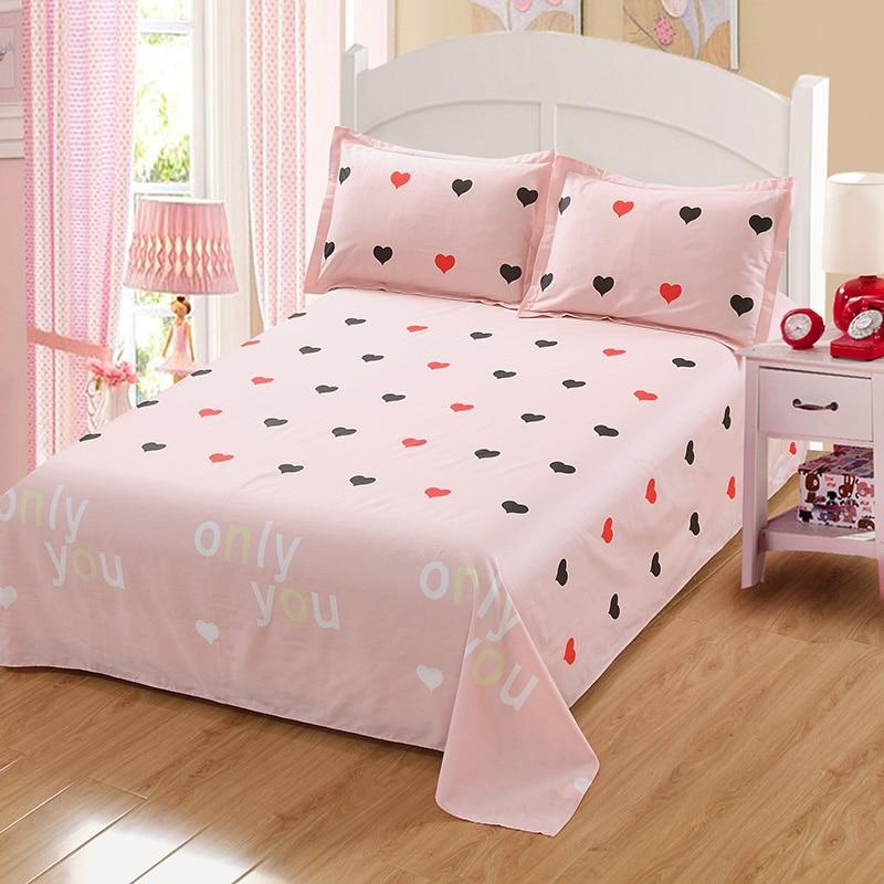 New cotone rosa lamiera piana dolce principessa biancheria da letto 48*74 cm federa rosa grigio doppia completa regina king size lenzuolo tessili per la Casa
