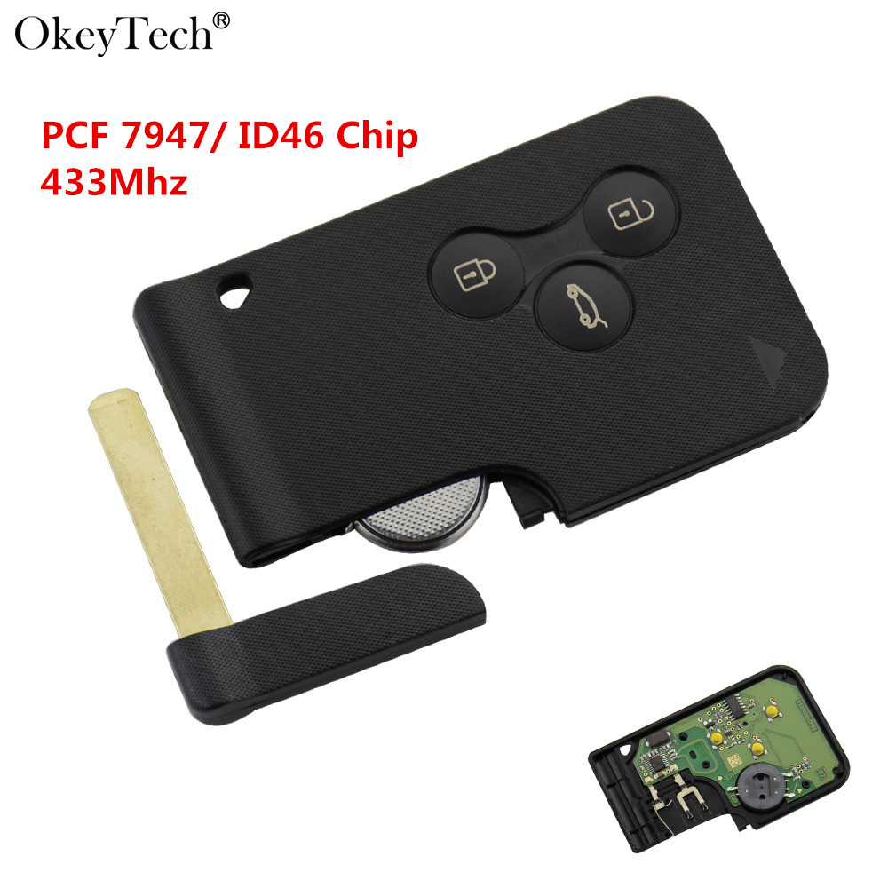 Okeytech New High Quality Smart Key Card 7947 Chip 433Mhz For Renault Megane Scenic Grand Scenic 2003 2004 2005 2006 2007 2008 ...