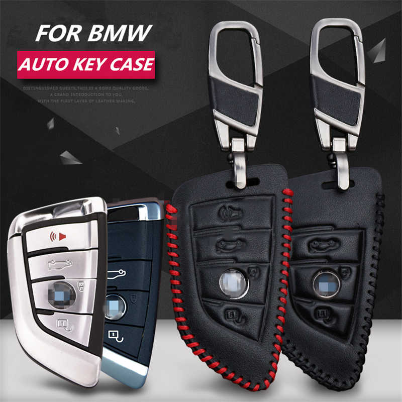 LUNASBORE Fashion cow leather car key pack cover / smart key case holder shell keychain accessories for BMW X5 F15 X6