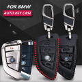 Fashion cow leather car key pack cover / smart key case holder shell keychain accessories for BMW X5 F15 X6