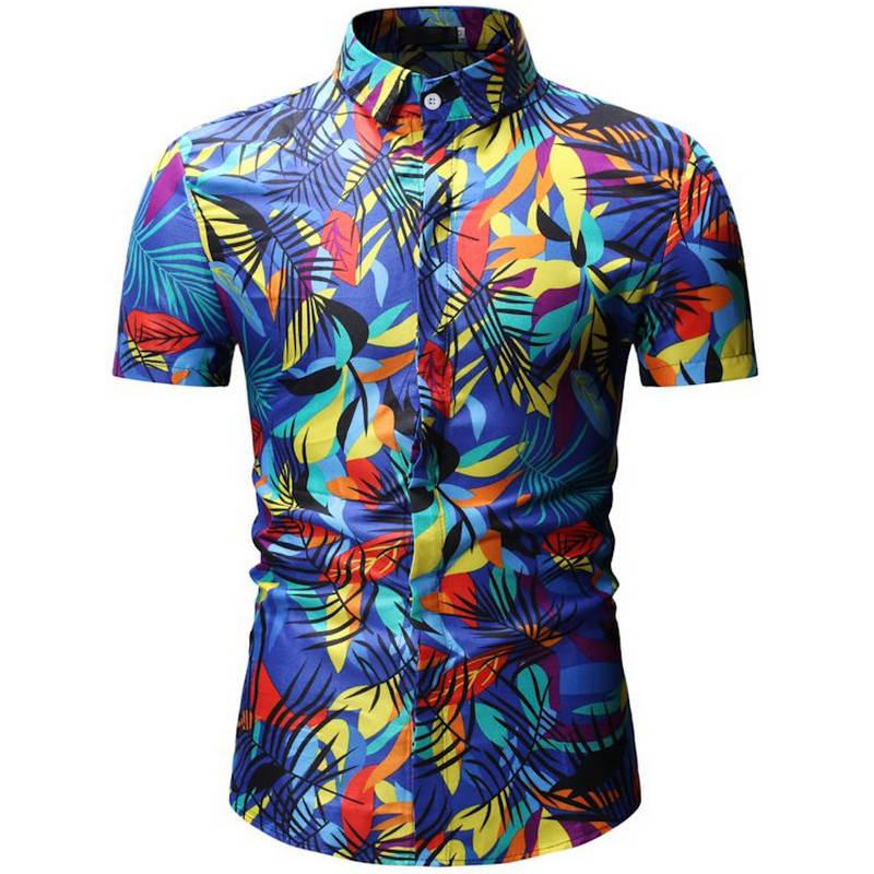 2019 New Summer Mens Short Sleeve Beach Hawaiian Shirts Cotton Casual Floral Shirts Regular Plus Size XXXL Mens clothing Fashion