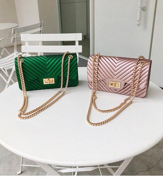 แบรนด์ที่มีชื่อเสียงPVC Messengerกระเป๋าผู้หญิงไหล่กระเป๋าออกแบบกระเป๋าถือผู้หญิงกระเป๋าVintageหญิงChain Jelly Pack