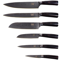 XYj High Grade Stainless Steel Knife Set Color Wood Handle Damascus Pattern Sharp Blade Kitchen Knife