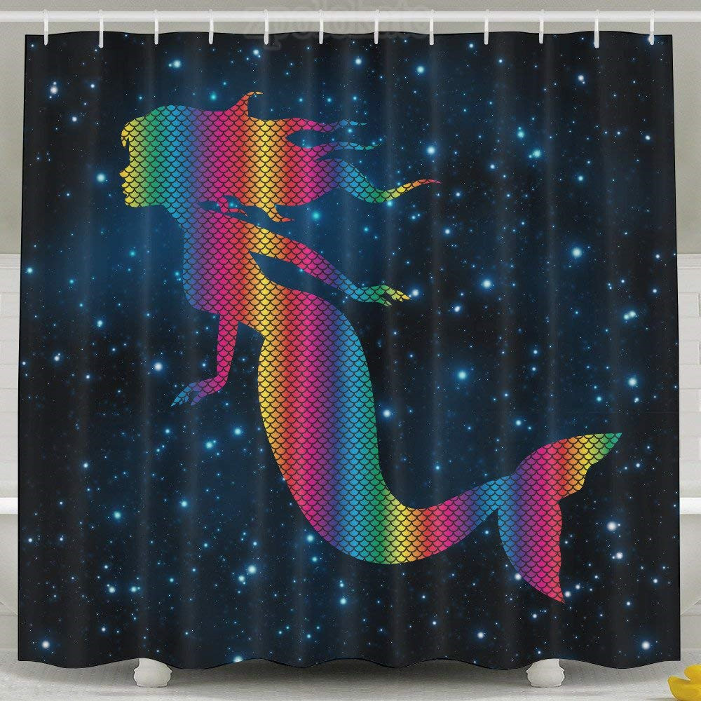 Rainbow Neon Fabric Bathroom Shower Curtain Set