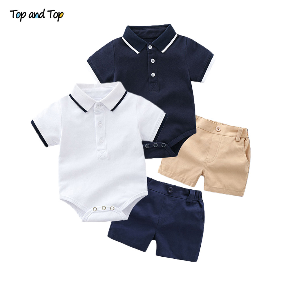 Top and Top Summer Fashion Newborn Boys Formal Clothing Set Cotton Romper Top+ Shorts Baby Gentleman Suit Kids Boys Clothes Sets